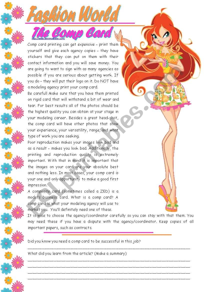 Fashion World – The Comp Card – reading comprehension + grammar (causative – make) [3 tasks] KEYS INCLUDED ((3 pages)) ***editable